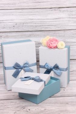 Набор подарочных коробок из 3шт - Прямоугольник в елочку голубой 21*15*9см  В431
