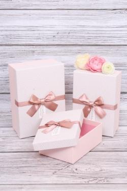 Набор подарочных коробок из 3шт - Прямоугольник в елочку розовый 21*15*9см  В431