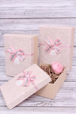 Набор подарочных коробок из 3шт - Прямоугольник велюр с блеском кремовый 22*15*9см В188