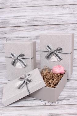 Набор подарочных коробок из 3шт - Прямоугольник велюр с блеском серый 22*15*9см В188