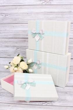 Набор подарочных коробок из 3шт - Прямоугольник Весна голубой бант 28*20*9см  В218