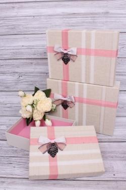 Набор подарочных коробок из 3шт - Прямоугольник Весна розовый бант 28*20*9см  В218