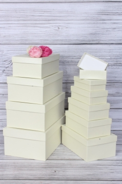 Набор подарочных коробок из 10шт - Прямоугольник  глубокие Бежевый перл. 32,5х20х12,5см Пин10-БежП