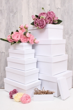 Набор подарочных коробок из 10шт - Прямоугольник  глубокие Белый 31,5х19х12см Пин10-Бел