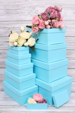 Набор подарочных коробок из 10шт - Прямоугольник  глубокие Голубой 31.5х19х12см Пин10-Гол