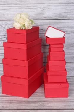 Набор подарочных коробок из 10шт - Прямоугольник  глубокие Красный 32,5х20х12,5см Пин10-КРКТ