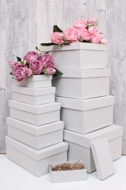 Набор подарочных коробок из 10шт - Прямоугольник  глубокие Серый 31,5х19х12см Пин10-СР