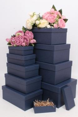 Набор подарочных коробок из 10шт - Прямоугольник  глубокие Синий 31,5х19х12см Пин10-С