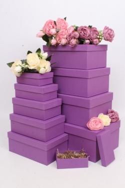 Набор подарочных коробок из 10шт - Прямоугольник  глубокие Сиреневый 31,5х19х12см Пин10-Сир