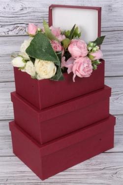 Набор подарочных коробок из 3шт - Прямоугольные № 74 ЛЮКС  Бордовый  23см*16см*9,5см Пин74Б/Люкс