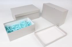 Набор подарочных коробок из 3шт - Прямоугоник №74 Серебро 23*16*9,5см   Пин74-ФС