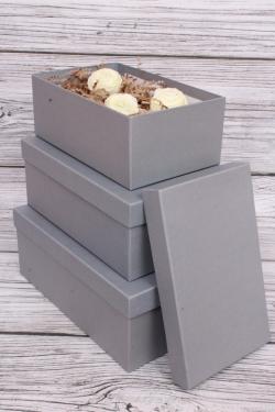 Набор подарочных коробок из 3шт - Прямоугоник  №74 Антрацит 23.5*15*9см   Пин74-АН