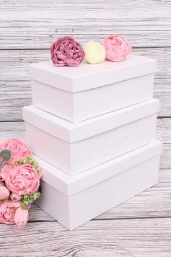 Набор подарочных коробок из 3шт - Прямоугоник  №74 Белый перламутр 23*16*9,5см   Пин74-БелП