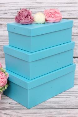 Набор подарочных коробок из 3шт - Прямоугоник  №74 Голубой перламутр 23*16*9,5см   Пин74-ГолП