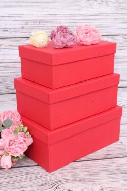 Набор подарочных коробок из 3шт - Прямоугоник  №74 Красный КТ 23*16*9,5см   Пин74-КрКТ