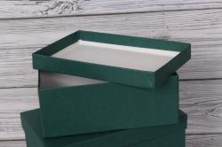 Набор подарочных коробок из 3шт - Прямоугоник  №74 Зеленый 23*16*9,5см   Пин74Зе/Люкс