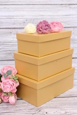 Набор подарочных коробок из 3шт - Прямоугоник  №74 Золото 23*16*9,5см   Пин74-Зол