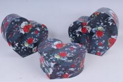 Набор подарочных коробок из 3шт - Сердца №77 Цветы   Пин77Ц5