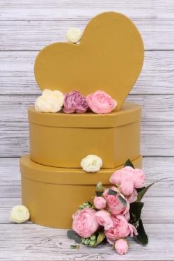 Набор подарочных коробок из 3шт - Сердца №77  Золото  28*21*12см    Пин77-ЗЛ