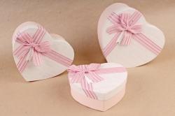 Набор подарочных коробок из 3шт - Сердце бант лен розовый   S560