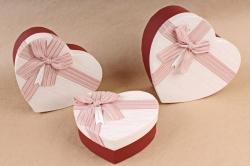 Набор подарочных коробок из 3шт - Сердце бант парча лосось     S564