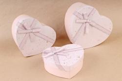 Набор подарочных коробок из 3шт - Сердце бант парча розовое   S564
