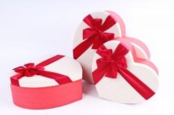 Набор подарочных коробок из 3шт - Сердце бежевая крышка