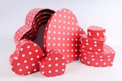 Набор подарочных коробок из 10 шт - Сердце Горох   S1001-SY948