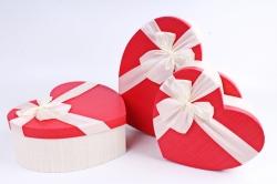 Набор подарочных коробок из 3шт - Сердце красная крышка