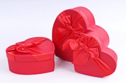 Набор подарочных коробок из 3шт - Сердце красное атласный бант