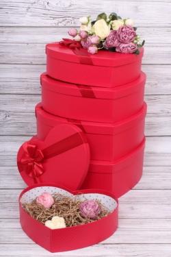 Набор подарочных коробок из 5шт - Сердце красное 42*30*13см В184