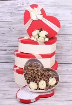 Набор подарочных коробок из 5шт - Сердце крышка алая 42*30*13см В186