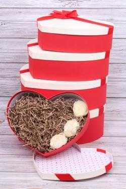 Набор подарочных коробок из 5шт - Сердце крышка шампань 42*30*13см В186
