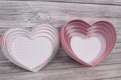 Набор подарочных коробок из 5шт - Сердце Листики белая крышка  43*35*13см В352
