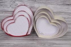 Набор подарочных коробок из 3шт - Сердце Листики красная крышка  40*33*12см В748
