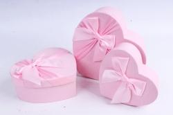 Набор подарочных коробок из 3шт - Сердце розовое атласный бант