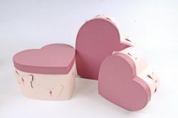 Набор подарочных коробок из 3шт - Сердце с Бабочками розовое   D012