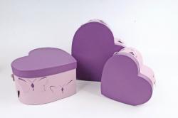 Набор подарочных коробок из 3шт - Сердце с Бабочками сиреневое   D012