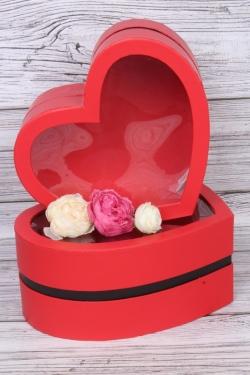 """Набор подарочных коробок из 2шт - """"Сердце с черной полосой"""" красное  29х26х12 см 5624М"""