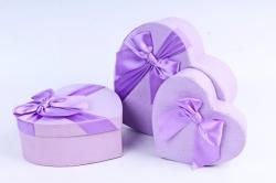 Набор подарочных коробок из 3шт - Сердце сиреневое атласный бант