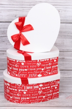 "Набор подарочных коробок из 3шт - ""Сердце-конфетка"" красное 40,3х32,5х15 см  5556М"