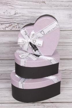 "Набор подарочных коробок из 3шт - Сердце  ""Нежное сердце"" сиреневое 22,2х19,5х9 см  5631М"