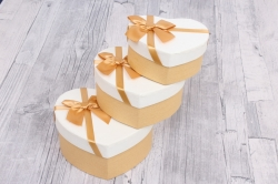 """Набор подарочных коробок из 3шт - Сердце  """"Золотое с бантом"""" 14*11.5*7 см SY2235-GOLD"""