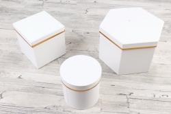 Набор подарочных коробок из 3шт - Шестигранник Белый  М24