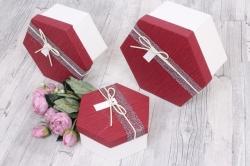 """Набор подарочных коробок из 3шт - Шестигранник бордовая крышка  3 шт"""" 22*19*10см D430001 М"""
