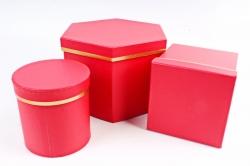 Набор подарочных коробок из 3шт - Шестигранник Красный   М24