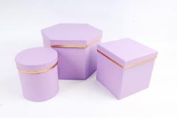 Набор подарочных коробок из 3шт - Шестигранник Сирень  М24