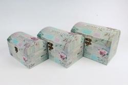 Набор подарочных коробок из 3шт - Сундук марки бирюза  D62