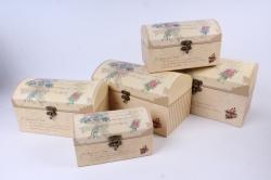 Набор подарочных коробок из 5шт - Сундук с блестками бежевый   Т81