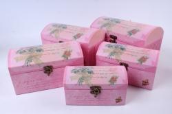 Набор подарочных коробок из 5шт - Сундук с блестками розовый   Т81